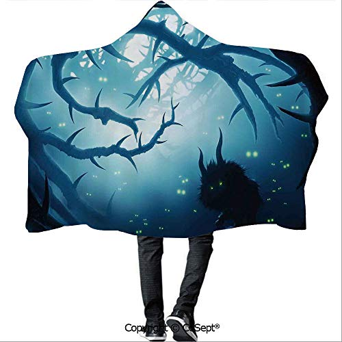 SCOCICI Wearable Hooded Blanket,Animal with Burning Eyes in Dark Forest at Night Horror Halloween Illustration,Warm Cozy Throw Blanket (59.05x43.30 inch),Navy White -