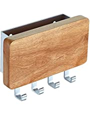 KAIYING Key Holder, Mail, Letter and Key Organizer Wall Mounted with 4 Hooks,Decorative Wood Aluminum Key Chain Rack Hanger for Entryway, Door, Kitchen, Hallway, Foyer