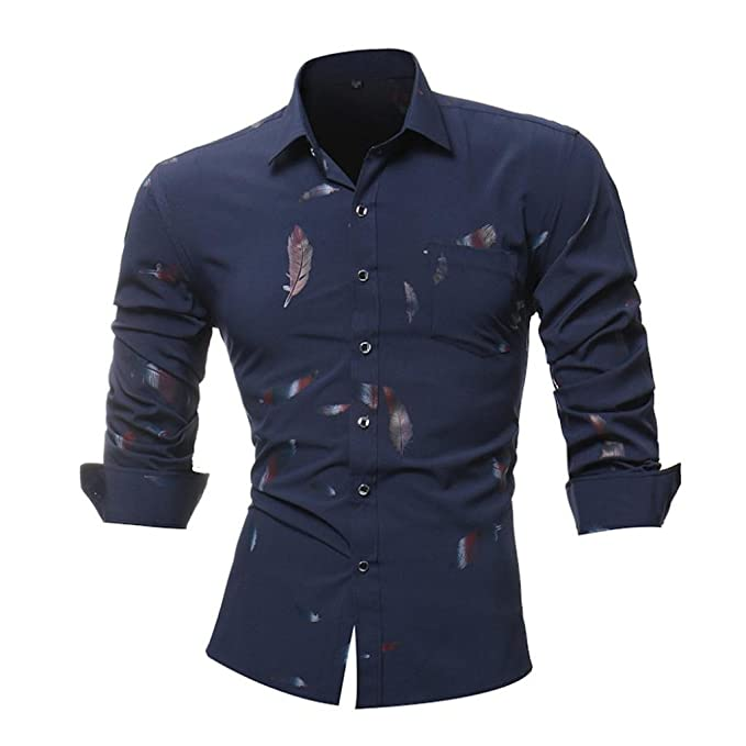 JiaMeng Camisa para Hombre - Blusa Casual de Manga Larga Top Cuello Alto de Color Sólido