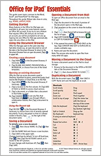 Microsoft Office For Ipad Essentials Quick Reference Guide Cheat