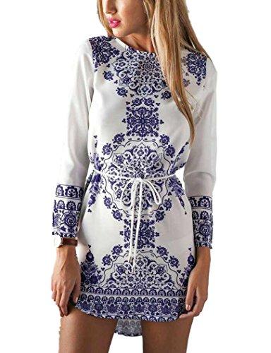 LFYH Women's Women's O Neck Porcelain Pattern Print Shirt (Knit Ruffle Pattern)
