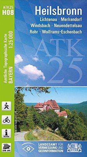 ATK25-H08 Heilsbronn (Amtliche Topographische Karte 1:25000): Lichtenau, Merkendorf, Windsbach, Neuendettelsau, Rohr, Wolframs-Eschenbach (ATK25 Amtliche Topographische Karte 1:25000 Bayern)