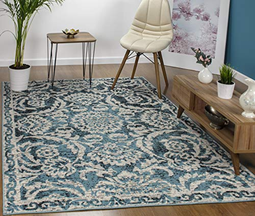 Antep Rugs Kashan King Collection Floral Polypropylene Indoor Area Rug (Blue/Cream, 5' x ()