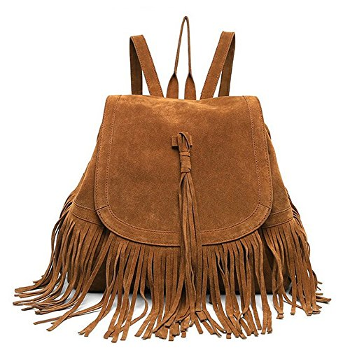 Lui Sui Woman Fashion Faux Leather Fringed Leather Tassel Bag Large Capacity Bag Casual Hippie Brown Bag