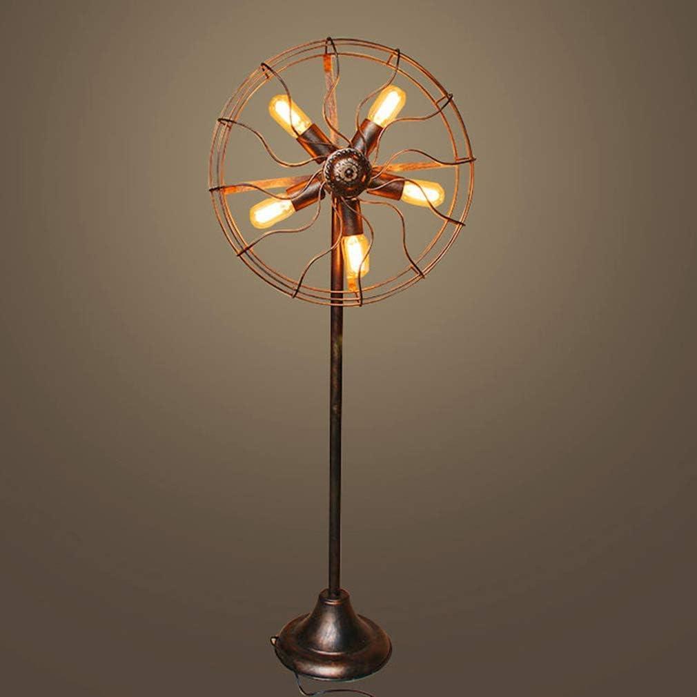 Lámpara de pie de estilo industrial retro, lámparas de pie de hierro American Nostálgico Ventilador creativo Lámpara de pie E27 Lámpara de pie para sala de estar Lámpara de dormitorio Balcón Bar Ilumi