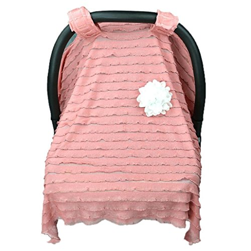 Dinlong Maternity Baby Stroller Sunshade Newborn Car Seat Carriage Blanket Sun Shade Rayshade Cover Basket Safety Cradle Cap Bassinet Canopy Visor (Pink, 37.4x29.5 inches / 95x75 cm) ()