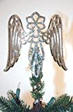 "8"" Wings Tree Topper Plated Rhodium with Austrian Crystals"