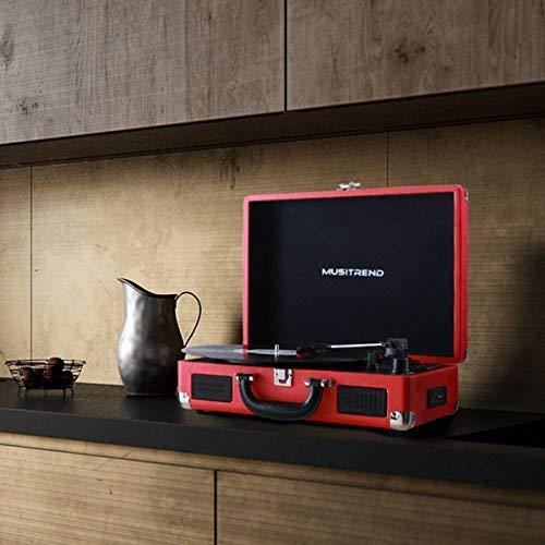 MUSITREND Tocadiscos 33/45/78 RPM Seleccionables, Maleta Portátil con 2 Altavoces Integrados, con RCA, Auriculares y Line in Montado, Rojo