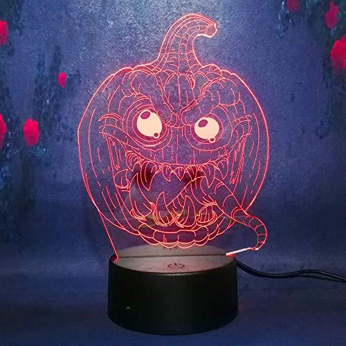 (3D Halloween Pumpkin Decor LED Lamp 7 Color Change Kid Desk Table Sleep Night Light Haunted House Illusion Living)