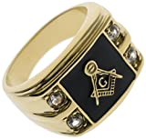 Masonic Mason Square and Compass Four Cubic Zirconia Accent Stones 18k Gold Overlay Men's Ring