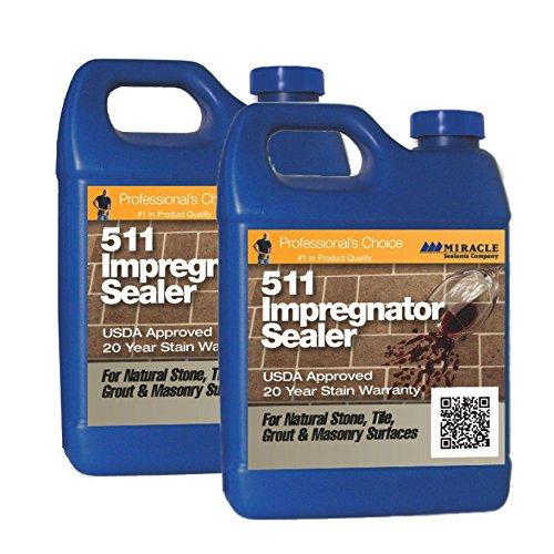 Miracle Sealants 511 Impregnator Penetrating Sealer 64 Oz. Penetrating Sealer (2 Quarts) + Free Mira Brush Applicator and -