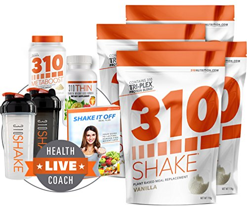 4 Pack of Vanilla Meal Replacement | 310 Shake Includes 4 Bags of 28 Serving Vanilla Shake | 310 Thin | 310 Metaboost | 2 Free Shaker Cups and Free Digital eBook by 310 Nutrition