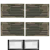 Bundle Set of 4 Multicam Infrared IR USA American Flags Forward And Reversed 3.5x2 Laser Cut Morale Touch Fastener Patches