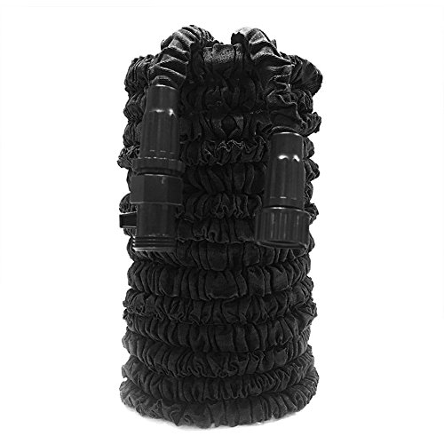 Expandable Garden Hose, GenLed 75ft Strongest Expanding Garden Hose on the Market with Triple Layer Latex Core & Latest Improved Extra Strength Fabric Protection for All Your Watering Needs(Black)