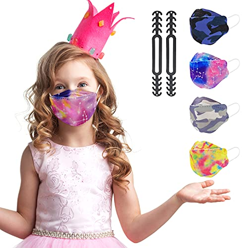 KF94 Kid Sized Mask, Fitting Disposable Mask for Small Face Individually Wrapped, Child Size Fun Tie Dye Cool Camo Pattern for Boys Girls, Cute Colorful Design 4 Ply Filtered Mask Breathable Comfortable Soft with Adjustable Nose Clip - 20 P