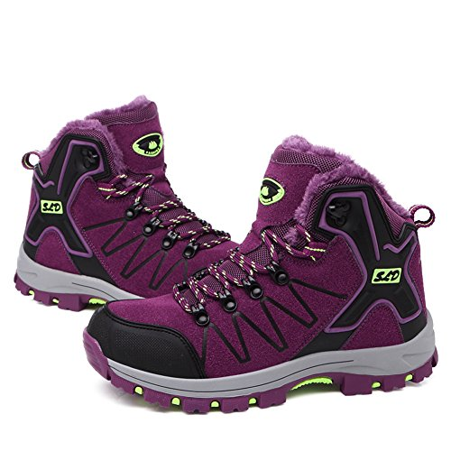 Slip Rise Sneakers GOMNERAR High Non Unisex Shoes Trekking Men Climbing Hiking Women Boots Outdoor Purple wxBvgpwq