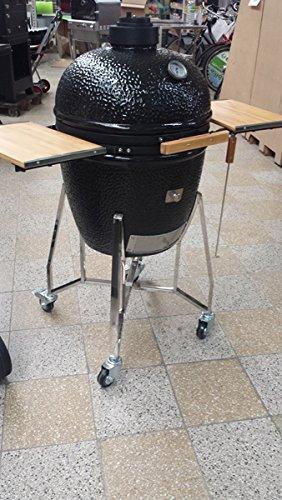 Keramikgrill Kamado Holzkohlegrill BBQ Grillwagen Standgrill Grillrost 50cm Ø 23, 6 Zoll Ø