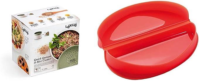 Lékué Recipiente para cocinar Quinoa, Arroces y Cereales, 1 Litro + Recipiente para cocinar Tortillas francesas en microondas, Color Rojo: Amazon.es: Hogar