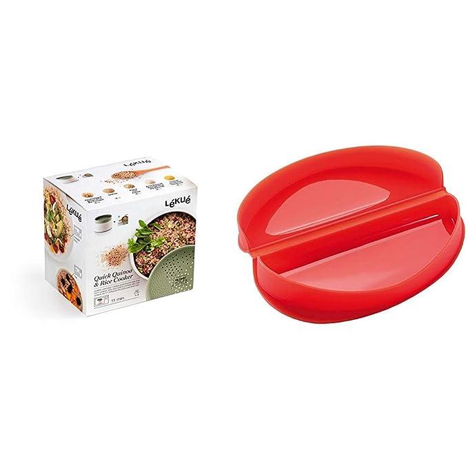 Lékué Recipiente para cocinar Quinoa, Arroces y Cereales, 1 Litro + Recipiente para cocinar Tortillas francesas en microondas, Color Rojo