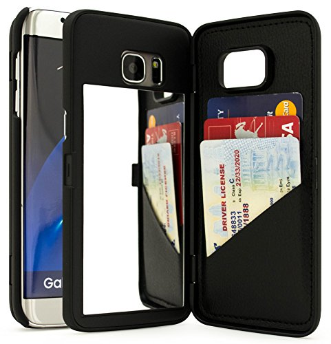 Bastex Galaxy S7 Edge Case, Black Hidden Back Mirror Wallet Case with Stand Feature and Card Holder for Samsung Galaxy S7 Edge G935