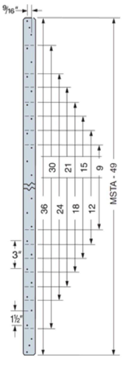 (50 Count) Simpson 316 Stainless Steel MSTA24SS Medium 24'' Straight/Flat Strap