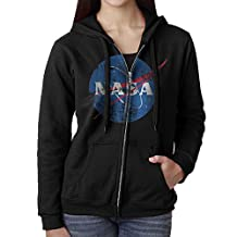 Women NASA Distressed Logo Black Adult Long Sleeve T-Shirt Hoodie Sweatshirt Black