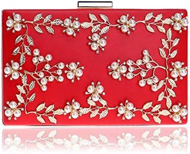 クラッチバッグイブニングバッグ女性のヨーロッパおよびアメリカの宴会バッグフラワーイブニングバッグ、5色、21.0 Cm * 6.0 Cm * 13.0 Cm 美しいファッション (Color : Red)