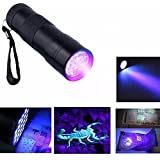 Invisible Ink Marker 9LED UV Ultra Violet 3 AAA Battery Flashlight Torch Light-Black