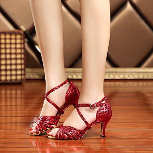 Minishion Gl226 Womens Strappy Sintetico Latino Tango Ballo Da Ballo Scarpe Da Sposa Sandali Rosso Prom