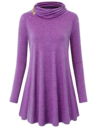 MOQIVGI Mock Turtleneck Women, Long Sleeve Solid Color Jersey Tops Fancy Strechy Country Style Decorative Button Embellished Pullover Blouse Tunics Purple XX-Large ()