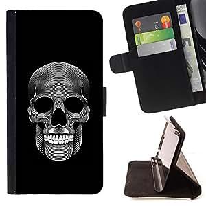 BullDog Case - FOR/HTC Desire 820 / - / MUSIC SKULL DEATH METAL DARK ART BLACK /- Monedero de cuero de la PU Llevar cubierta de la caja con el ID Credit Card Slots Flip funda de cuer