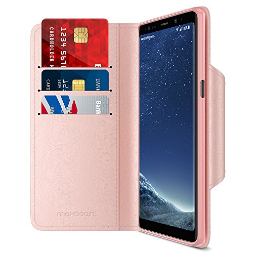 Maxboost Note 8 Wallet Case [Folio Style] [Stand Feature] mWallet Series for Samsung Galaxy Note 8 (2017) [Rose Gold] Card Leather Flip Cover with Hand Strap [Card Slot/Side Pocket] Magnetic Closure