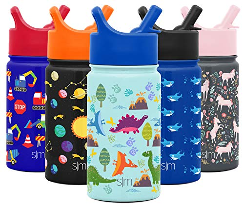 Simple Modern Kids Insulated Cup with Lid and Silicone Straw Stainless Steel Flask Metal Thermos for Toddlers Boys and Girls, 14oz Water Bottle, Blue Dino