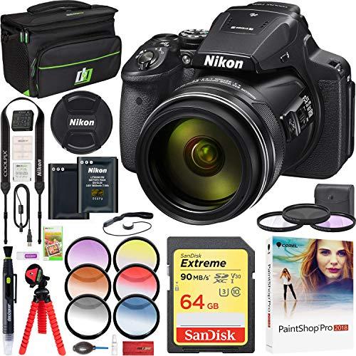 Nikon COOLPIX P900 16MP 83x Super Zoom Digital Camera Full HD Video Black Bundle with 64GB Memory Card, Rechargable Battery, Paintshop Pro 2018, Camera Bag, 67mm Filter Set and 6 Pcs Filter Set