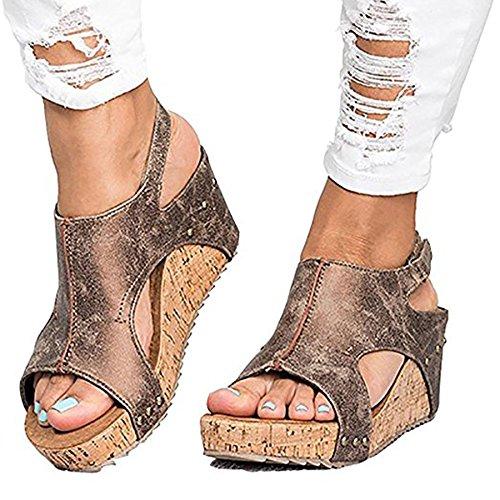 Ru Sweet Women's Sandals Peep Toe PU Belt Buckle Blocking Hook-Loop Fashion Wedges Sandals Summer Shoes Heel Sandal