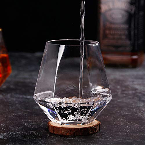 LMEIL Crystal Whiskey Glass Set of 2 - Premium Lead Free Crystal Glasses - Elegant Whisky Gift Box Set for Scotch or Bourbon,b ()