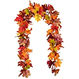 Artiflr 2 Pack Fall Maple Leaf Garland Artificial