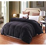 HOMIGOO Solid Down Alternative Comforter Super Soft and Warm Winter Thick Quilt Queen Black