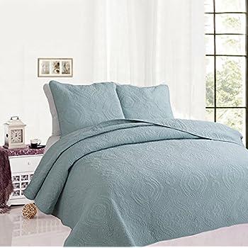 Amazon.com: Solid color 3-Piece Quilt Set 100%Cotton, Bedspread ... : solid color quilts - Adamdwight.com