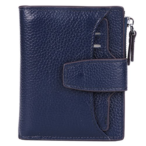 AINIMOER Women's RFID Blocking Leather Small Compact Bi-fold Zipper Pocket Wallet Card Case Purse (Lichee Navy Blue)