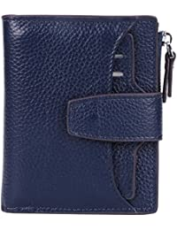 Womens RFID Blocking Leather Small Compact Bi-fold Zipper Pocket Wallet Card Case Purse with