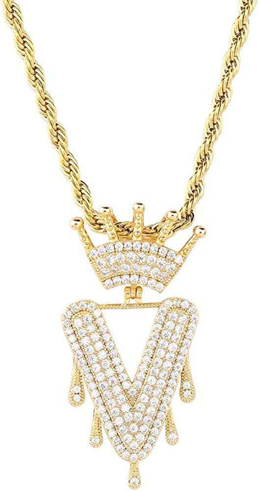 HECHUANG Initial Pendant Necklace Women/Men Simulated Diamond Dripping Crown Letter Rope Chain Necklace