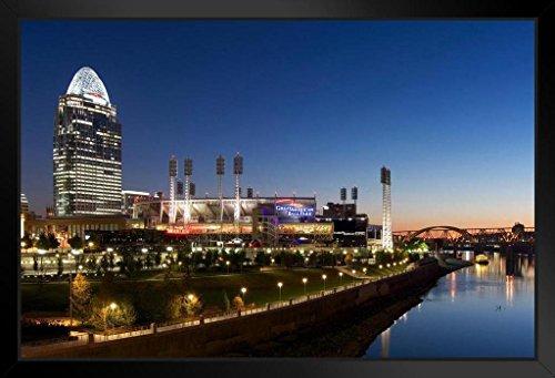 Cincinnati Skyline with Great American Ball Park Photo Art Print Framed Poster 20x14 inch
