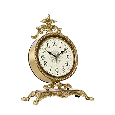 Reloj De Mesa Retro - Lámpara De Escritorio Reloj De Bronce ...