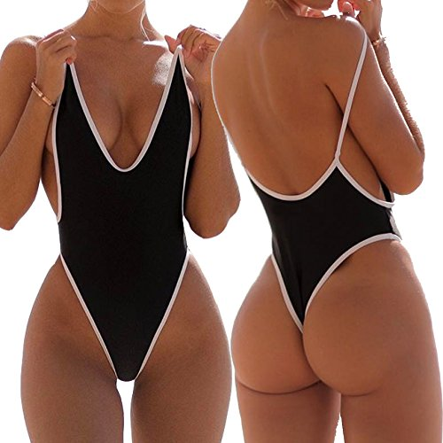 FITTOO Women's Deep V Thong Retro One Piece Monokini High Waist Swimsuit Sexy Trikini Lace Up Sexy Swimsuit Bandage Slit Plunging Neck Backless #2Black -L (Piece Bathing One Suits Thong)