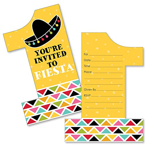 1st Birthday Let's Fiesta - Shaped Fill-in Invitations - Mexican Fiesta First Birthday Party Invitation Cards with Envelopes - Set of ()