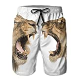 DIMANNU Men's Shorts Pockets Swim Beach Trunk Summer Lion Couple Athletic
