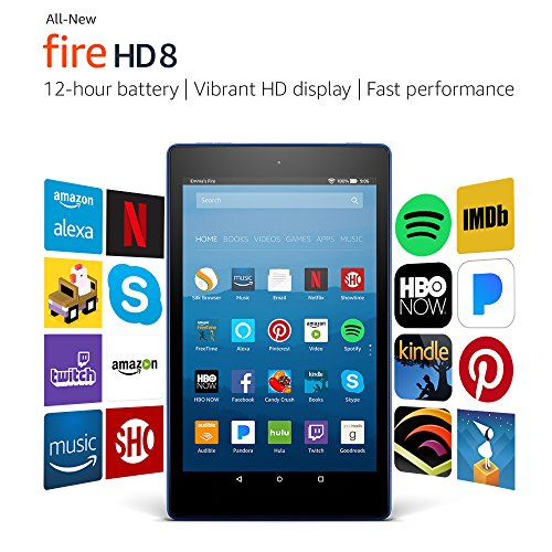 "All-New Fire HD 8 Tablet with Alexa, 8"" HD Display, 16 GB, Marine Blue - with Special Offers"