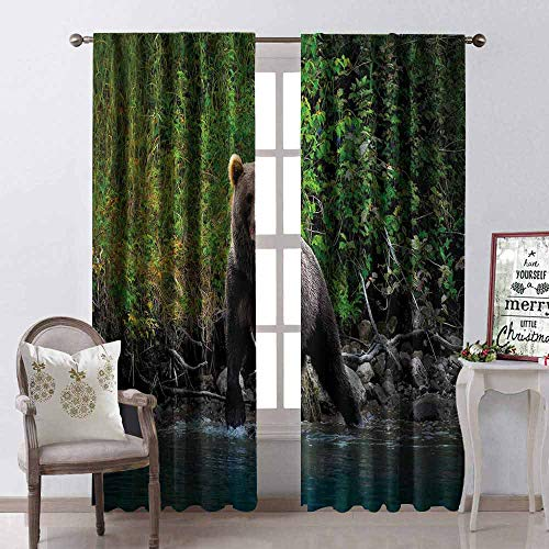 GloriaJohnson Cabin Decor Shading Insulated Curtain Grizzly Brown Bear in Lake Alaska Untouched Forest Jungle Wildlife Image Soundproof Shade W52 x L108 Inch Green Brown Blue
