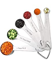 Stainless Steel Metal Measuring Spoons, Measuring Dry and Liquid Ingredients - Easy to Read Engraved (TSP, tbsp) and Metric Measurements(ML) for Food, Spice, seasoning, Milk, Dry or Liquid, Measure Serving Spoons, Set of 6